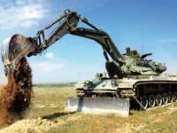 Armado con brazo de Case el carro «Alacrán». Excavadora de combate.